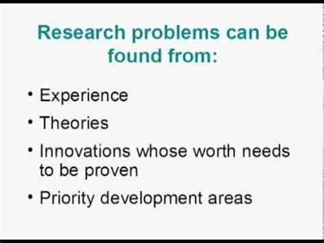 Statement of a problem in research proposal